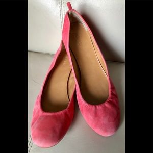 J Crew Pink Suede Leather Women Ballet Flats Shoes